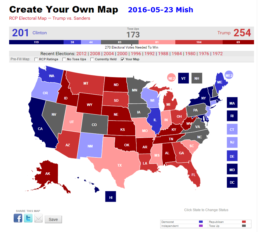 Grim Election Map For Trump Fox Analyst Vs RCP Vs Mish - 2016 electoral us map