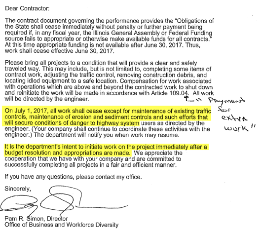 """Unable To Pay Bills, Illinois Sends """"Dear Contractor"""" Letter Telling Firms To Halt Road Work On July 1"""